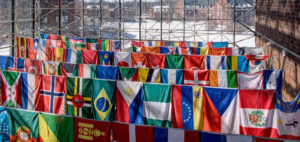 flags of the world on display in Wilson Commons