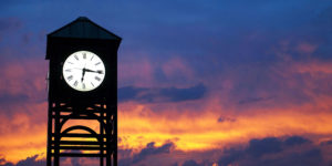 University of Rochester clock tower at sunset
