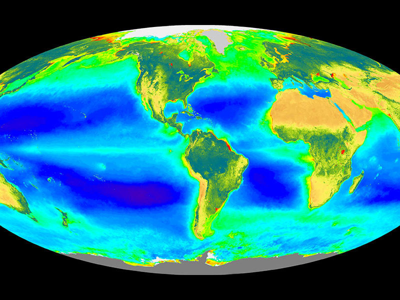 NASA satellite image of surface ocean