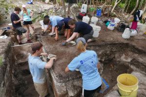 Students at excavation site in Bermuda