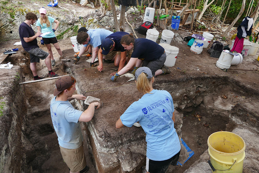 Students at excavation site in Bermuda