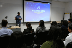 students in lecture from intel corporation