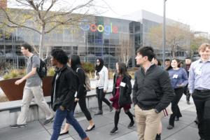 students outdoors at Google campus
