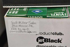 Box with a Scott Millar Salon label on it