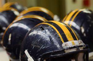up close image of football helmets